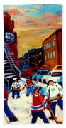 Hockey Paintings Of Montreal St Urbain Street City Scenes Bath Towel