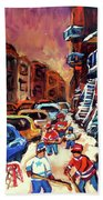 Hockey Paintings Of Montreal St Urbain Street Winterscene Bath Towel