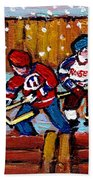 Hockey Rink Paintings New York Rangers Vs Habs Original Six Teams Hockey Winter Scene Carole Spandau Bath Towel