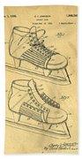 Hockey Skates Patent Art Blueprint Drawing Bath Towel