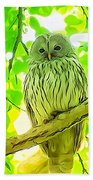 Owl  Watercolor Touch Bath Towel