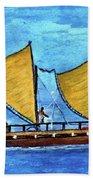 Hokulea Hawaiian Ocean Going Outrigger Canoe #49 Bath Towel