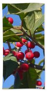 Holly Berries On A Wintry Day I Bath Towel