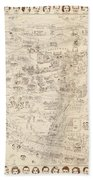 Hollywood Map To The Stars 1937 Bath Towel