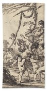 Holy Family With Putti Bath Towel