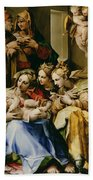 Holy Family With Saint Anne Catherine Of Alexandria And Mary Magdalene Bath Towel