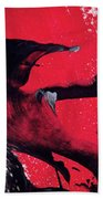 Hope - Red Black And White Abstract Art Painting Bath Towel