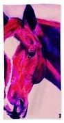 Horse Art Horse Portrait Maduro Deep Pink Bath Towel