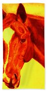 Horse Art Horse Portrait Maduro Deep Yellow And Orange Bath Towel