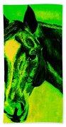 Horse Art Horse Portrait Maduro Green Black And Yellow Bath Towel