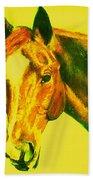 Horse Art Horse Portrait Maduro Yellow Bath Towel