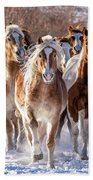 Horse Herd In Snow Bath Towel