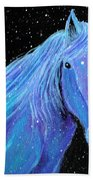 Horse-midnight Snow Bath Towel