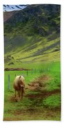 Horse On The South Iceland Coast Bath Towel