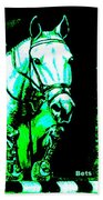 Horse Painting Jumper No Faults Black Blue And Green Bath Towel