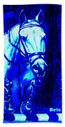 Horse Painting Jumper No Faults Blue Bath Towel