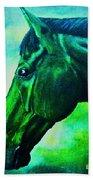 horse portrait PRINCETON blue green Bath Towel