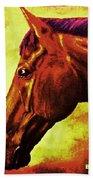 horse portrait PRINCETON purple brown yellow Bath Towel