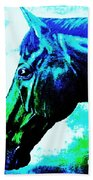 horse portrait PRINCETON really blue Bath Towel