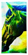 horse portrait PRINCETON vibrant yellow and blue Bath Towel