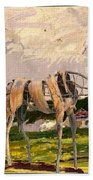 Horse Statue In The Field Bath Towel