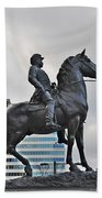 Horseman Between Sky Scrapers Bath Towel