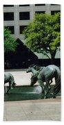 Horses At William Square  Bath Towel