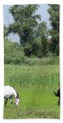 Horses On Pasture Nature Farm Scene Bath Towel