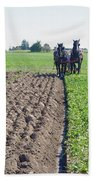 Horses Plowing Rows Two  Bath Towel