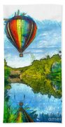 Hot Air Balloon Woodstock Vermont Pencil Bath Towel
