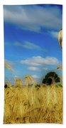 Hot Air Balloons Over A Wheat Field Bath Towel