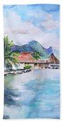 House By The Lagoon In French Polynesia Bath Towel