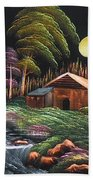 House In Night At Beautiful Site Bath Towel