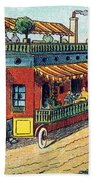 House On Wheels, 1900s French Postcard Bath Towel