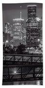 Houston Skyline With Rosemont Bridge In Bw Bath Towel