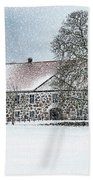 Hovdala Castle Main House In Winter Bath Towel