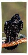 Huginn The Raven Bath Towel
