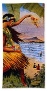Hula Flower Girl 1915 Bath Towel