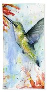 Hummingbird And Red Flower Watercolor Bath Towel