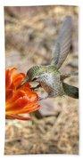 Hummingbird And The Hedgehog  Bath Towel