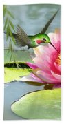 Hummingbird And Water Lily Bath Towel