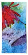 Hummingbird Batik Watercolor Bath Towel