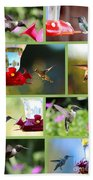 Hummingbird Collage 2 Bath Towel
