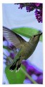 Hummingbird In Butterfly Bush Bath Towel