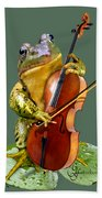 Humorous Scene Frog Playing Cello In Lily Pond Bath Towel