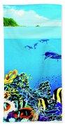 Humpback Whales, Reef Fish #252 Bath Towel