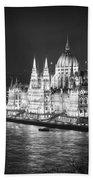 Hungarian Parliament Night Bw Bath Towel