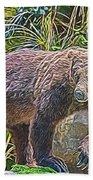 Hunting Bear Bath Towel by Ray Shiu