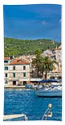 Hvar Yachting Harbor And Historic Architecture Panoramic  Bath Towel