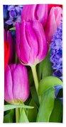 Hyacinth And  Tulip Flowers Bath Towel